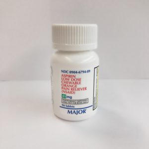 ASPIRIN- aspirin tablet, 81mg  chewable  90 tablets by Major Pharmaceuticals