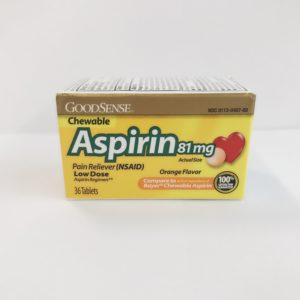 Aspirin 81 mg Chewable (Orange Flavor) 100 Tablet count by GoodSense